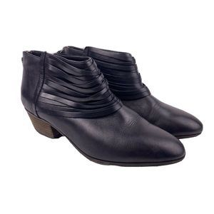 Clarks Black Leather Western Ankle Booties